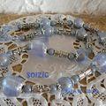 Collier perles nacrées mat et divers, appêts métal