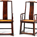 A pair of large <b>huanghuali</b> high continuous yokeback armchairs, Late Ming dynasty