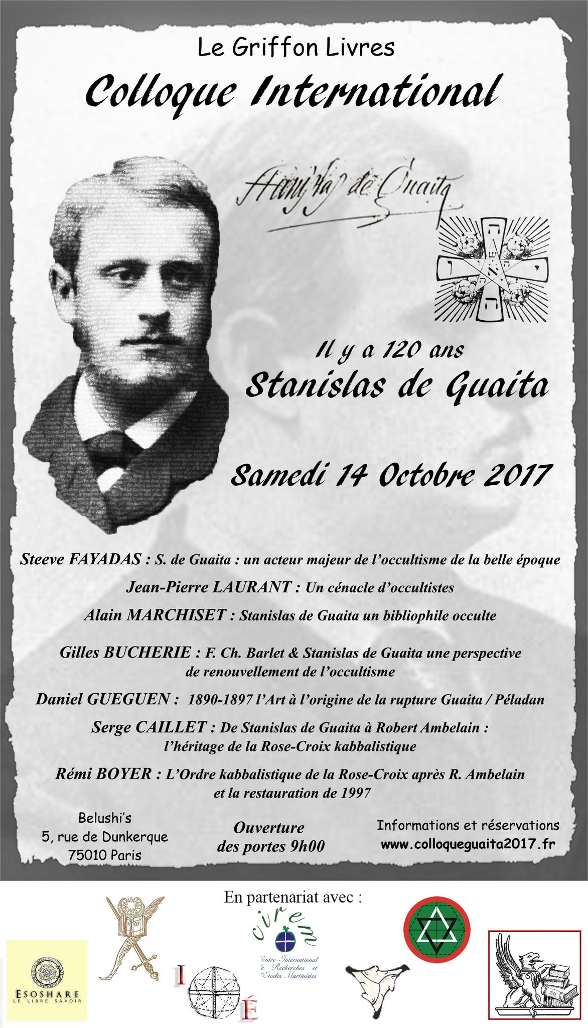 Information: colloque sur Stanislas de Guaita