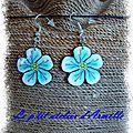 boucles d'oreille fimo fleur bleue
