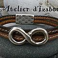 Infiniment gris le ciel aujourd'hui ! Alors un peu de chaleur avec ce <b>bracelet</b> <b>double</b> <b>rang</b> et son passant infini en cuir !