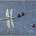 Sautoir libellule et améthystes