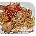 Petit wok rapide de poulet au poivron thaï