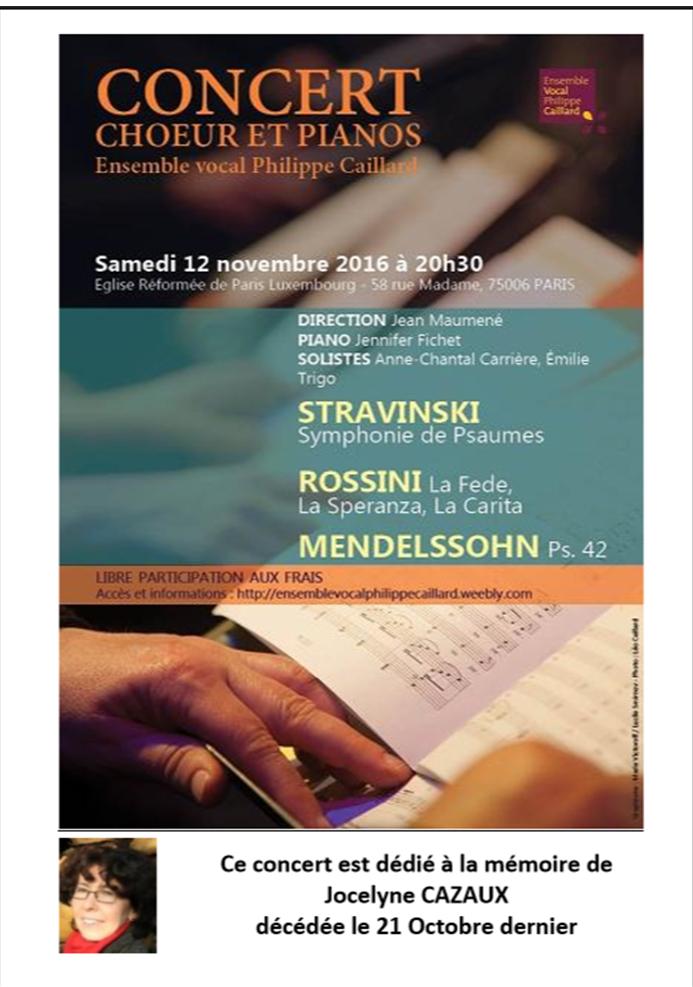 samedi 12 novembre 2016 20h30 - Concert de l'EVPC - Psaume 42 de Mendelssohn - Symphonie de psaumes de Stravinsly - Rossini