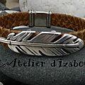 Qui veut une nouveauté ? Moi, moi, moi ! Alors voici un <b>bracelet</b> en <b>cuir</b> de <b>chèvre</b> kaki aspect serpent et passant plume.