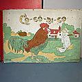 Cocorico, un album en <b>tissu</b> Hachette des années 30 aux illustrations bourrées de charme... Magnifique, délicat et émouvant !
