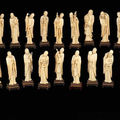 A rare complete ivory set of the eighteen luohans. late qing dynasty