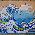 La Grande Vague d'Hokusai peinte par les Enfants