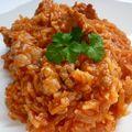 Risotto tomates, saucisses