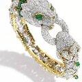 18 Karat Gold, Platinum, <b>Diamond</b> <b>and</b> <b>Emerald</b> <b>Bracelet</b>, David Webb