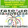 Samedi 6 avril fête de la diversité à l'espace concorde