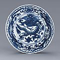 A blue and white '<b>Dragon</b>' <b>saucer</b>, Mark and period of Wanli