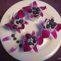 Coupelles fleuries pour myrtilles
