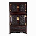 Rare <b>Hongmu</b> Wood Dragon Cabinet, China, Qing dynasty (1644-1912)