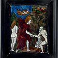 Trois plaques en <b>email</b> <b>peint</b>. France (Limoges), XVIIème-XVIIème siècles