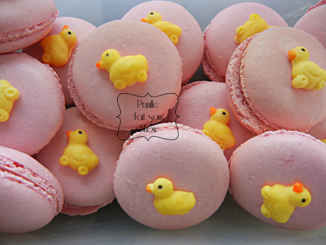 macaron poussin rose prunillefee