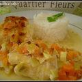 gratin aux deux poissons (dos de cabillaud et saumon et ses petits légumes