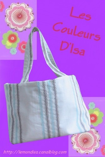 Cabas rayures bleues