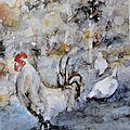 <b>Encadrer</b> une <b>aquarelle</b> de poules : teasing.