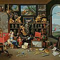 Jan Van Kessel the elder (1626 Antwerp 1679), An Allegory of Sight, A view of a collector's cabinet, circa <b>1660</b>