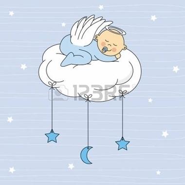 22552675-gar-on-de-sommeil-de-b-b-sur-une-carte-d-anniversaire-de-nuage