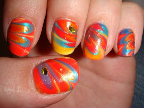 Water marble multicolor et strass