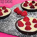 Tartelettes <b>cacao</b>, chocolat blanc et framboises