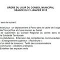 Ordre du jour du conseil municipal du 21 janvier 2015