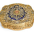A jewelled gold and frosted glass presentation box, <b>Hanau</b>, circa 1871