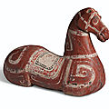 A painted dark grey pottery torso of a horse, <b>Han</b> <b>dynasty</b> (<b>206</b> <b>BC</b> - <b>AD</b> <b>220</b>)