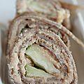 Galette de sarrasin roulée aux rillettes de saumon, artichaut, aneth et pomme verte
