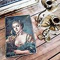 Ancienne boîte en fer Portrait jeune femme poétique / brocante <b>Belley</b> - Rhône Alpes : La capucine bleue