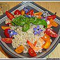 Salade d'orge aux crevettes et tomates cerises