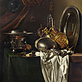 <b>Willem</b> <b>Kalf</b>, A chafing dish, two pilgrims' canteens, a silver-gilt ewer, a plate and other tableware on a partially draped table