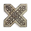 Two lustre pottery <b>cross</b> tiles, Kashan, Central Iran, dated AH 691/1294-95 AD