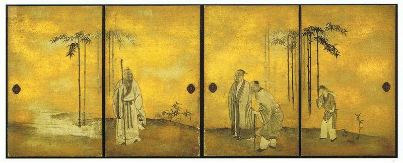 11-Maruyama Ôkyo (1733-1795), paravents Est de la Salle des Sept sages dans la forêt de bambous (shichiken no ma), H182,5cm, L139cm, 1794