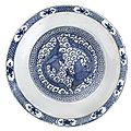 A large blue and white 'phoenix' dish, late ming dynasty