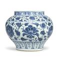 A rare blue and white '<b>peony</b>' <b>jar</b>, guan, Yuan dynasty