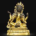 A gilt-bronze figure of a <b>Bodhisattva</b>, Qing dynasty, 18th century