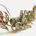 Antique diamond, demantoid garnet & ruby <b>grasshopper</b> <b>brooch</b>, circa 1880
