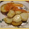 Saint jacques et potiron poélés, sauce clémentine, basilic et gingembre