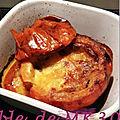 Potimarron farci lardons, reblochon, <b>champignons</b> et oignon