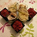 Assortiment de verrines: crèmes de betterave, de fenouil, de champignon