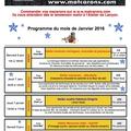Le programme des cours de <b>cuisine</b> de janvier 2016