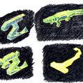Bestiaire du niveau «Jungle» en 3D isométrique (ou perspective cavalière).
