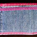 50. jean et imprimé fuchsia et turquoise - arrière