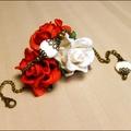 Bijou créateur, <b>bracelet</b> <b>fantaisie</b> style vintage, nacre, fleur laiton et chaine