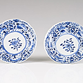 Two Chinese export blue and white porcelain saucers, Kangxi Period (1662-1722)