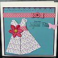 40. vanille, turquoise, rose et violet - robe fleuri en origami