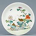 A famille rose 'Quails and Chrysanthemum' dish, Qianlong six-character seal mark in underglaze blue and of the period (1736-1795)